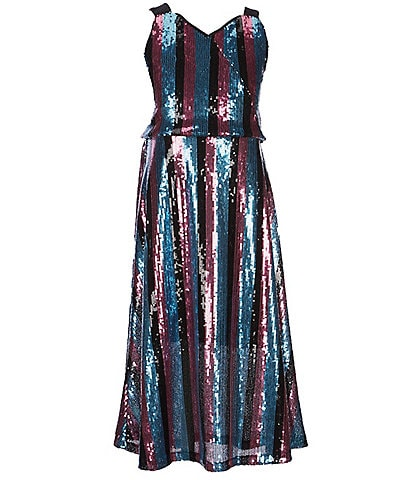 GB Girls Big Girls 7-16 Sequin Stripe Midi Dress