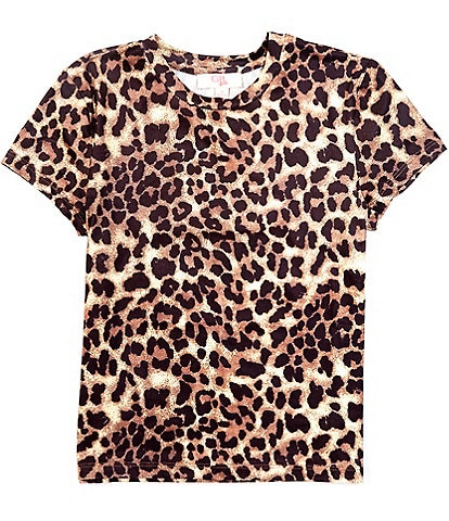 GB Girls Big Girls 7-16 Short-Sleeve Leopard-Print Tee