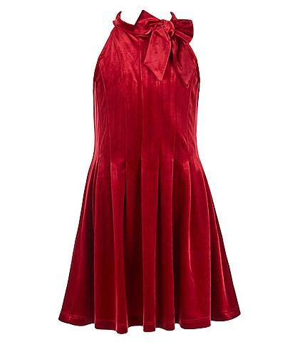 GB Girls Big Girls 7-16 Sleeveless Halter Bow Neck Velvet Fit-and-Flare Dress