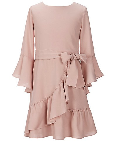 GB Girls Big Girls 7-16 Social Ruffle-Sleeve Faux-Wrap Dress