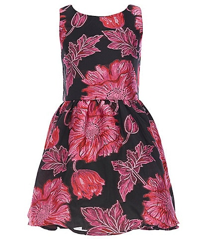 GB Girls Big Girls 7-16 Social Sleeveless Floral Jacquard Skater Dress