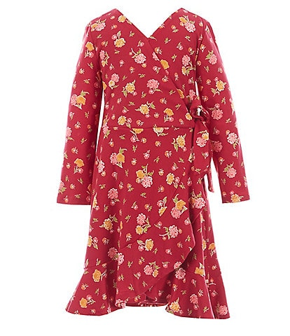 GB Girls Little Girls 2T-6X Floral Print Long Sleeve Faux Wrap Dress