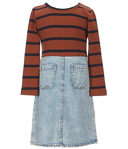 GB Girls Big Girls 7-16 Striped Knit Denim Skirt Mixed Dress