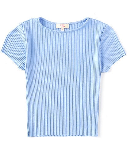 GB Girls Big Girls 7-19 Short Sleeve Raw-Hem Rib Knit Top