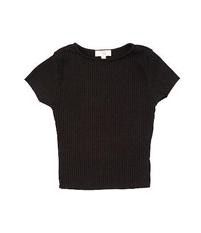 GB Girls Big Girls 7-19 Short Sleeve Raw-Hem Rib Knit Top