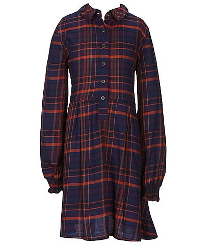 GB Girls GB Girls 7-16 Plaid Button Front Fit-And-Flare Dress