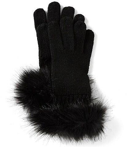 GB Girls Girls Faux-Fur Cuffs Knit Gloves