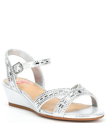 GB Girls' Glammee-Girl Jeweled Wedge Dress Sandals (Toddler)