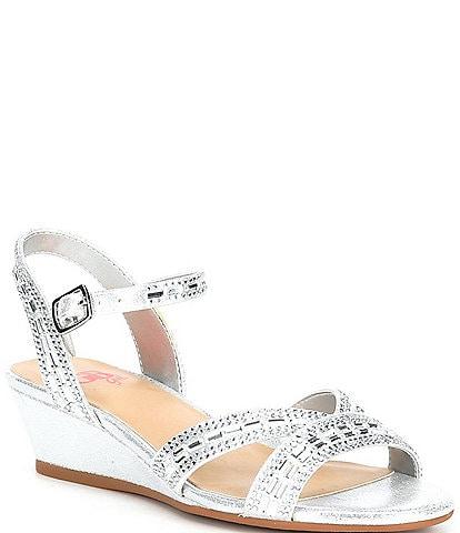 GB Girls' Glammee-Girl Jeweled Wedge Dress Sandals (Youth)