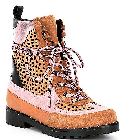 GB Girls' Groovy-Girl Cheetah Print Patchwork Combat Booties (Youth)