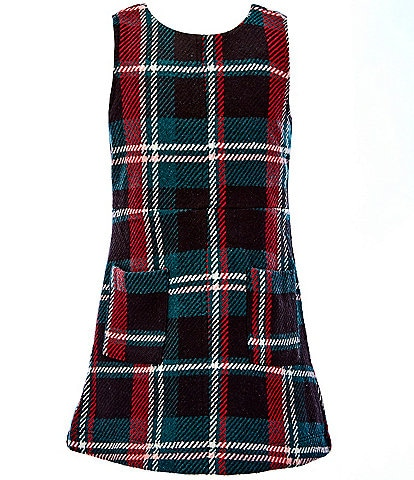 GB GB Girls Little Girls 2T-6X Holiday Menswear-Plaid Fit-And-Flare Dress