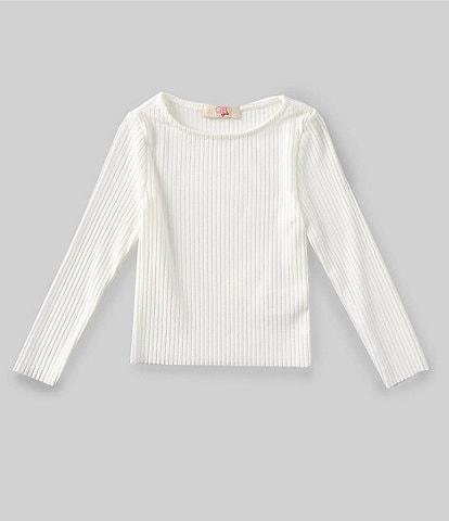 GB Girls Little Girls 2T-6X Long-Sleeve Raw Hem Rib Knit Top