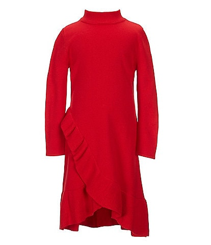 GB Girls Little Girls 2T-6X Mini Me Collection Long-Sleeve Ruffle Sweater Dress