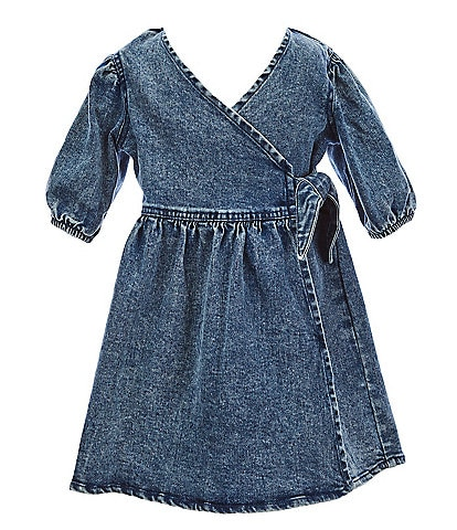 GB Girls Little Girls 2T-6X Puff-Sleeve Denim Faux-Wrap Dress