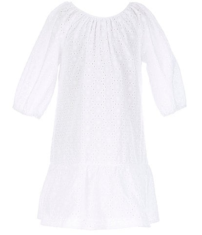 GB Girls Little Girls 2T-6X Puff-Sleeve Eyelet A-Line Dress