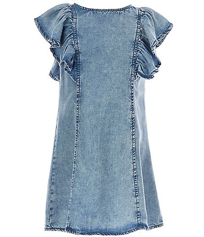 GB Girls Little Girls 2T-6X Ruffle-Sleeve Chambray Shift Dress