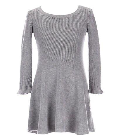GB Girls Little Girls 2T-6X Ruffle Sleeve Sweater Dress