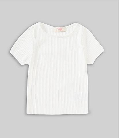 GB Girls Little Girls 2T-6X Short Sleeve Raw-Hem Rib Knit Top