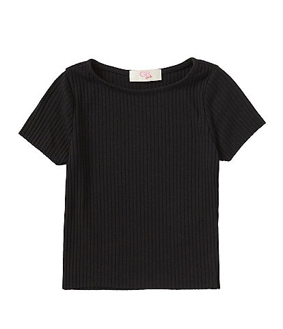 GB Girls Little Girls 2T-6X Short Sleeve Raw-Hem Rib Knit Top