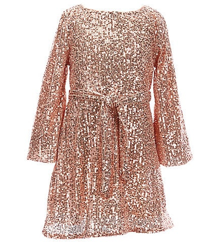 GB Girls Little Girls 2T-6X Social Long Blouson Sleeve Allover Sequin Dress