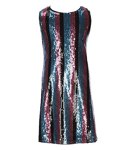 GB Girls Little Girls 2T-6X Striped Sequin A-Line Dress