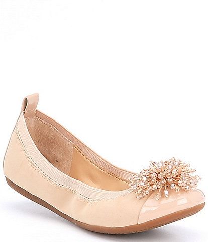 GB Girls Posy-Girl Patent Cap Toe Jeweled Ornament Dress Flats