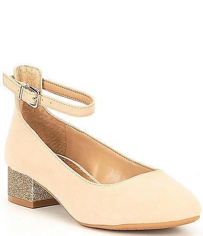 GB Girls Radiant-Girl Microfiber Ankle Strap Glitter Block Heel Dress Pumps