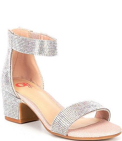 GB Girls' Roniiee-Girl Bling Rhinestone Ankle Strap Dress Heels (Toddler)
