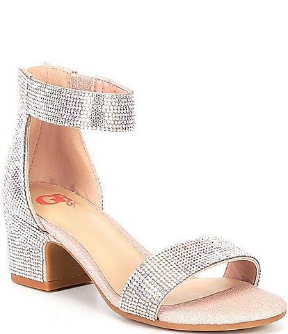 GB Girls' Roniiee-Girl Bling Rhinestone Ankle Strap Dress Sandals (Youth)