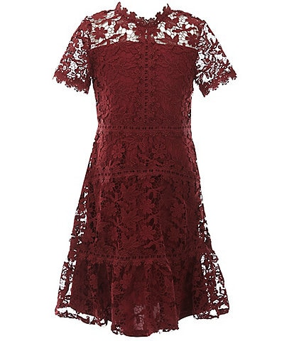 GB Girls Social Big Girls 7-16 Floral Lace A-Line Dress