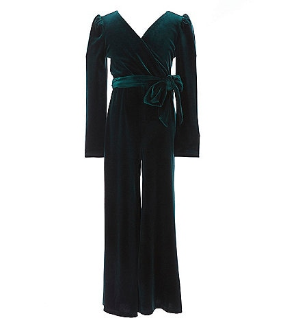 GB GB Girls Social Big Girls 7-16 Long-Sleeve Velvet Faux-Wrap Jumpsuit