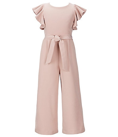 GB GB Girls Social Big Girls 7-16 Ruffle-Sleeve Cropped Jumpsuit