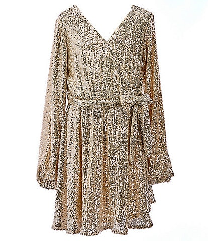 GB GB Girls Social Big Girls 7-16 Sequin Long-Sleeve Faux-Wrap Dress