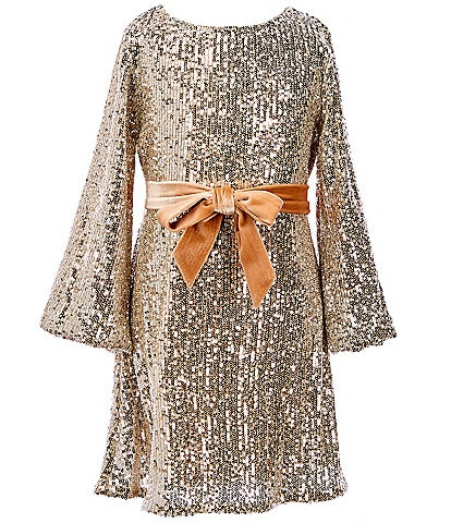 GB GB Girls Social Little Girls 4-6X Velvet Bow Waist Detail Allover Sequin Dress