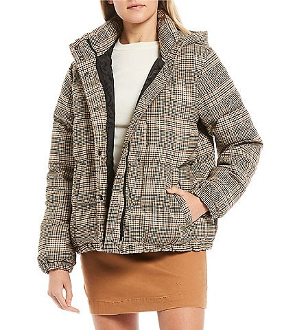 GB Herringbone Plaid Puffer Coat