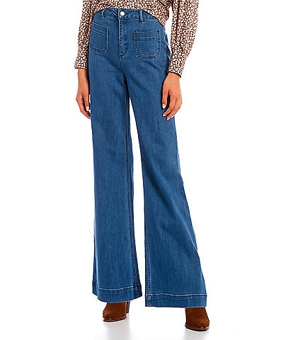 GB High Rise Patch Pocket Flare Jeans