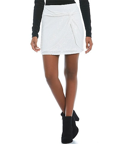 GB High Rise Sequin-Embellished Mesh Front Knot Mini Skirt