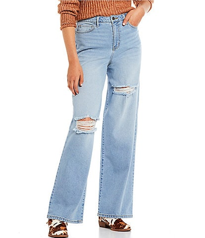 GB High Rise Destructed Wide Leg Denim Jeans