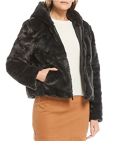 GB Hooded Faux Fur Coat
