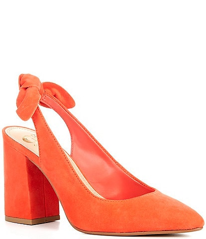 GB Hunny-Bunny Suede Bow Detail Slingback Block Heel Pumps