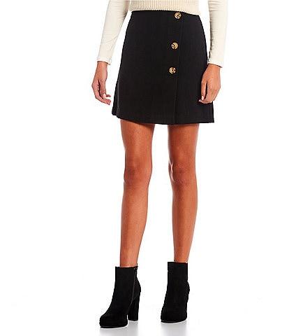 GB Jacquard Side Button Mini Skirt