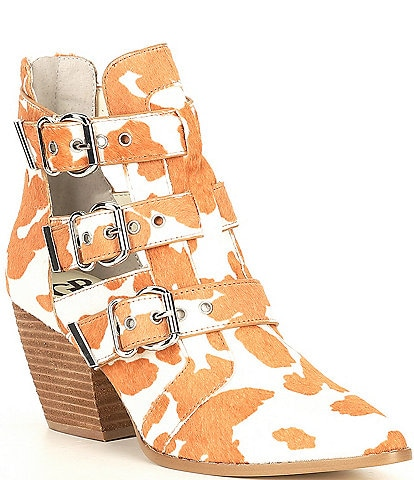 GB Jam-Out Haircalf Cow Print Three Buckle Western Booties