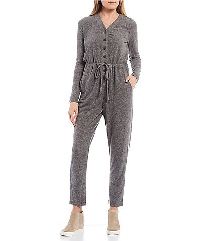 GB Knit Long Sleeve Button Front Jumpsuit