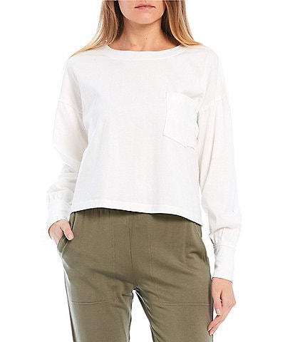 GB Knit Long Sleeve Cropped Pocket Tee