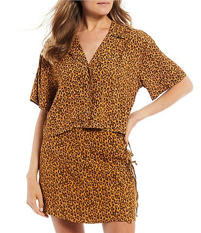 GB Coordinating Leopard Print Button Front Cropped Top