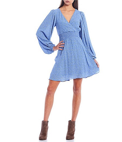GB Long Balloon Sleeve Dot Smocked Waist Dress