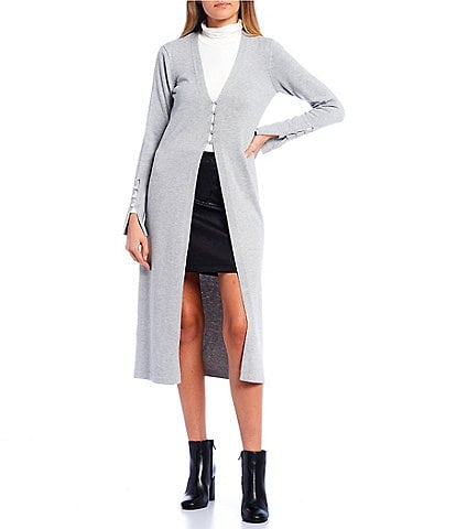 GB Long Sleeve Button Front Maxi Sweater Cardigan