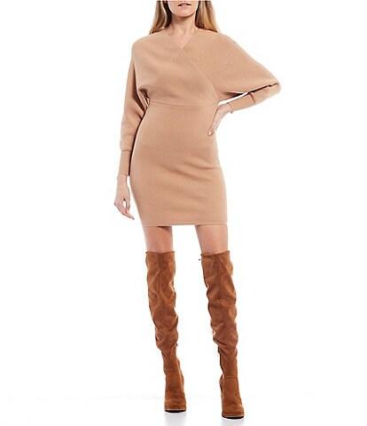 GB Long Sleeve Faux Wrap Sweater Dress