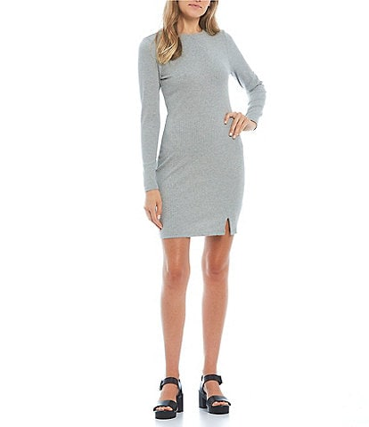 GB Long Sleeve Notch Front Ribbed Dress