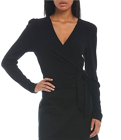 GB Long Sleeve Ribbed Knit Wrap Front Top